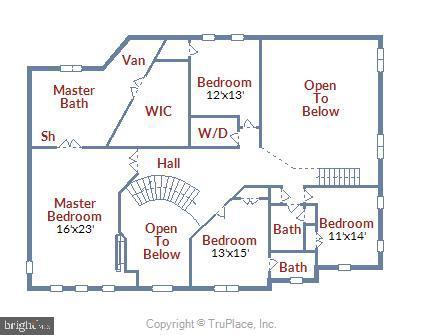 Floor Plan Bedroom Level - 43483 FIRESTONE PL, LEESBURG