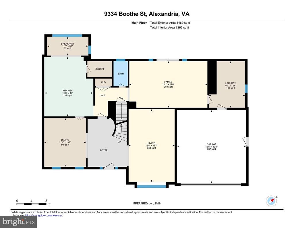 Main Level Floor Plan - 9334 BOOTHE ST, ALEXANDRIA