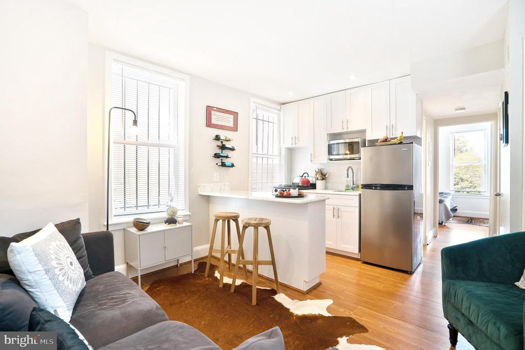 Unit #2 living area with new marble kitchen - 1009 O ST NW, WASHINGTON