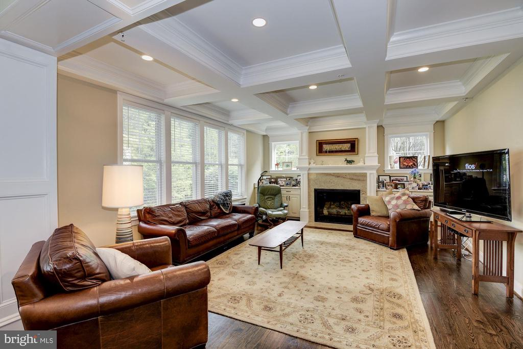 Coffered Ceiling Family Room With Gas Fireplace - 5823 PHOENIX DR, BETHESDA