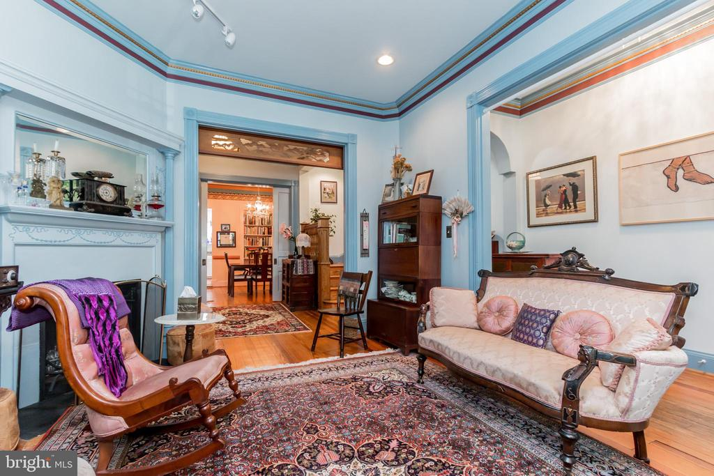 Detailed period moldings and fireplace - 2108 O ST NW, WASHINGTON