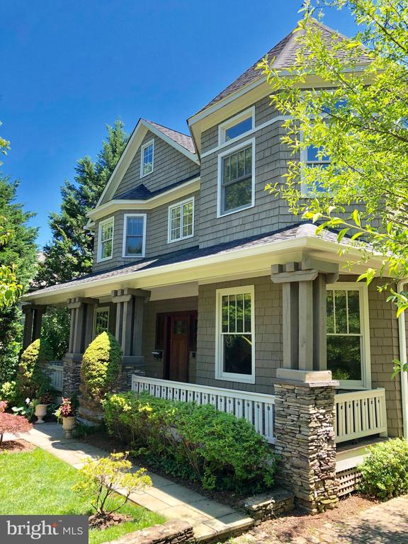 Full width front porch with stone piers - 4412 WALSH ST, CHEVY CHASE