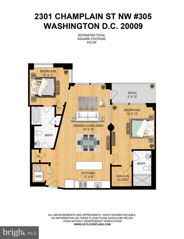 Floor plan - 2 bed/2 bath/910 sq. ft. w/patio - 2301 CHAMPLAIN ST NW #305, WASHINGTON