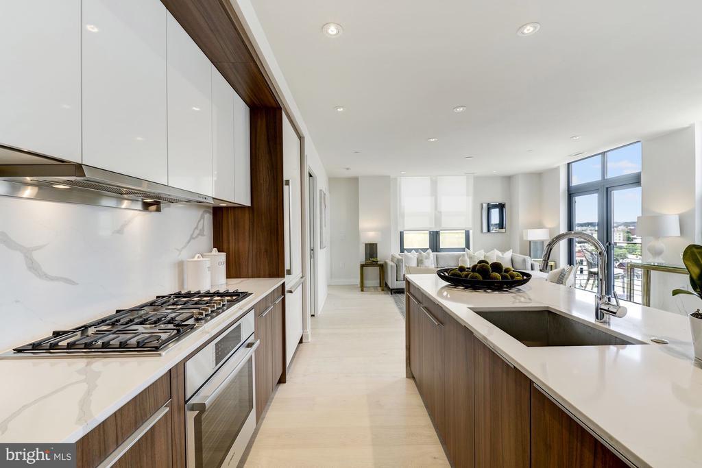 Poggenpohl kitchen and a 'waterfall' island - 1427 RHODE ISLAND AVE NW #PH3, WASHINGTON