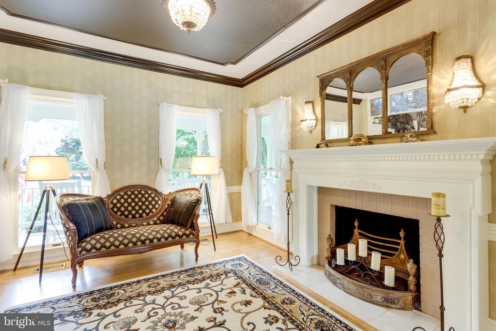 Living Room has Wood-burning Fireplace. - 11256 WAPLES MILL RD, OAKTON