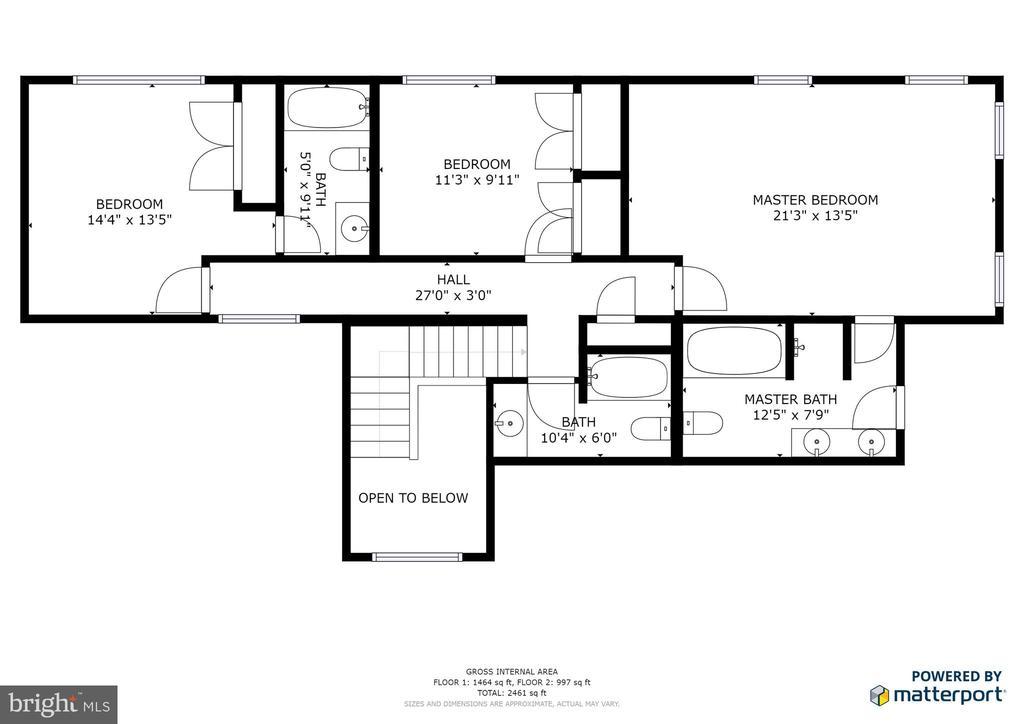 Upper level floor plan - 348 OAK TREE LN, STERLING