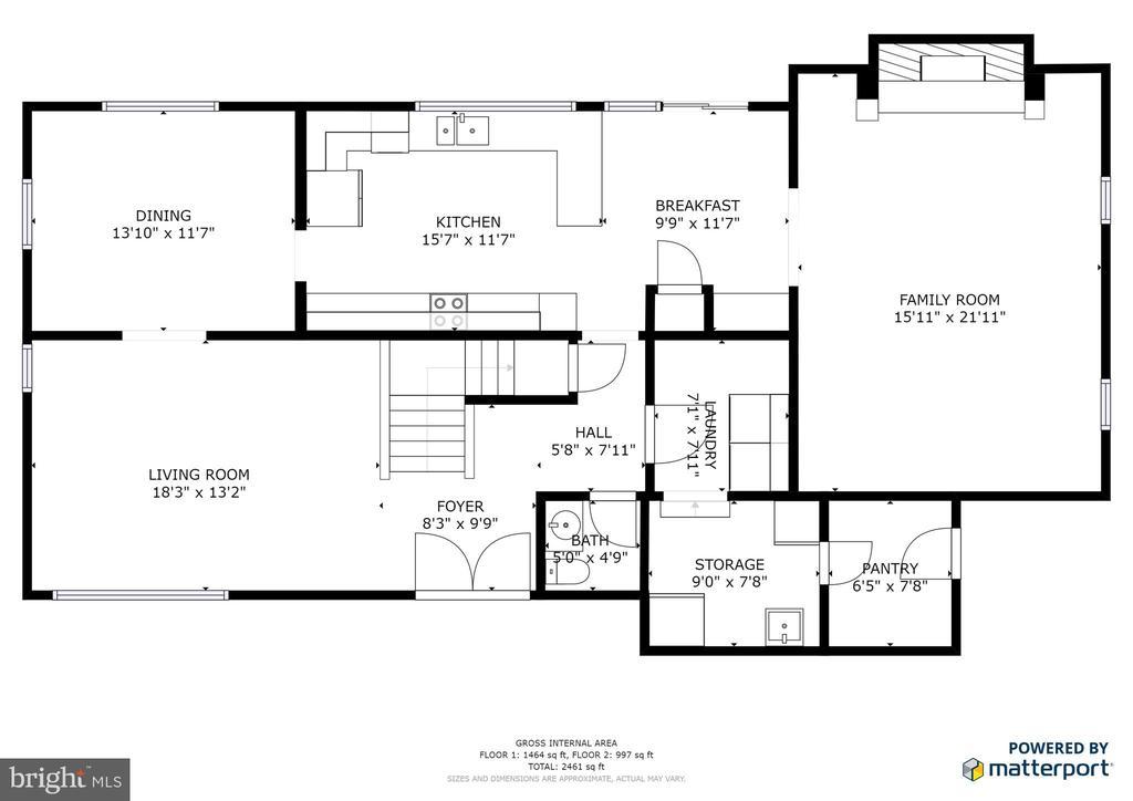 Main level floor plan - 348 OAK TREE LN, STERLING