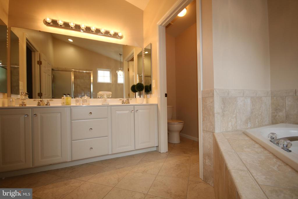 Master bath double sinks & lots of cabinets - 47429 RIVER FALLS DR, STERLING
