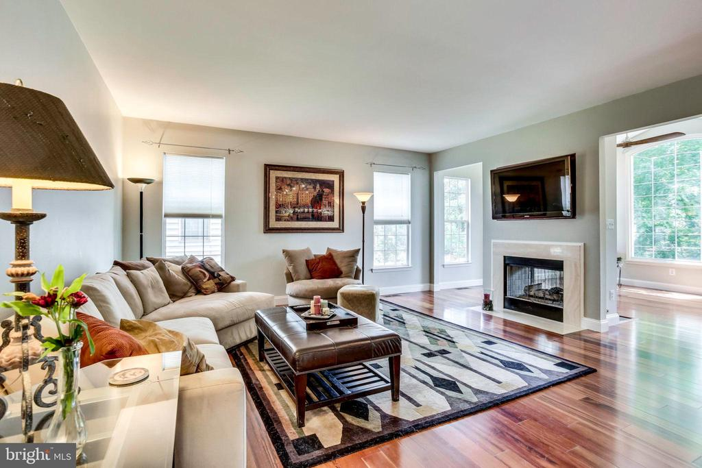 Family room with pass through fireplace - 43221 DARKWOODS ST, CHANTILLY