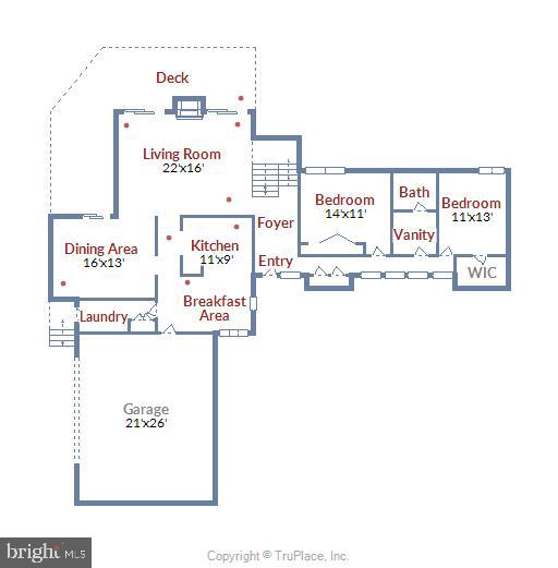 Main level floor plan - 15795 FAWN PL, DUMFRIES