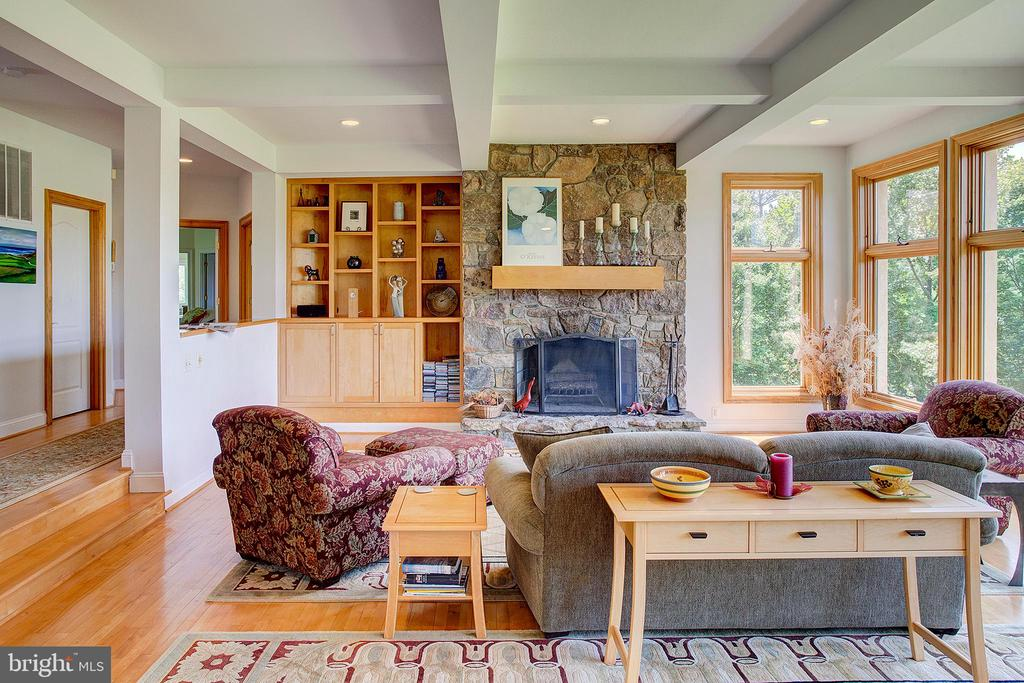 Stone fireplace and built in shelving - 20781 UNISON RD, ROUND HILL