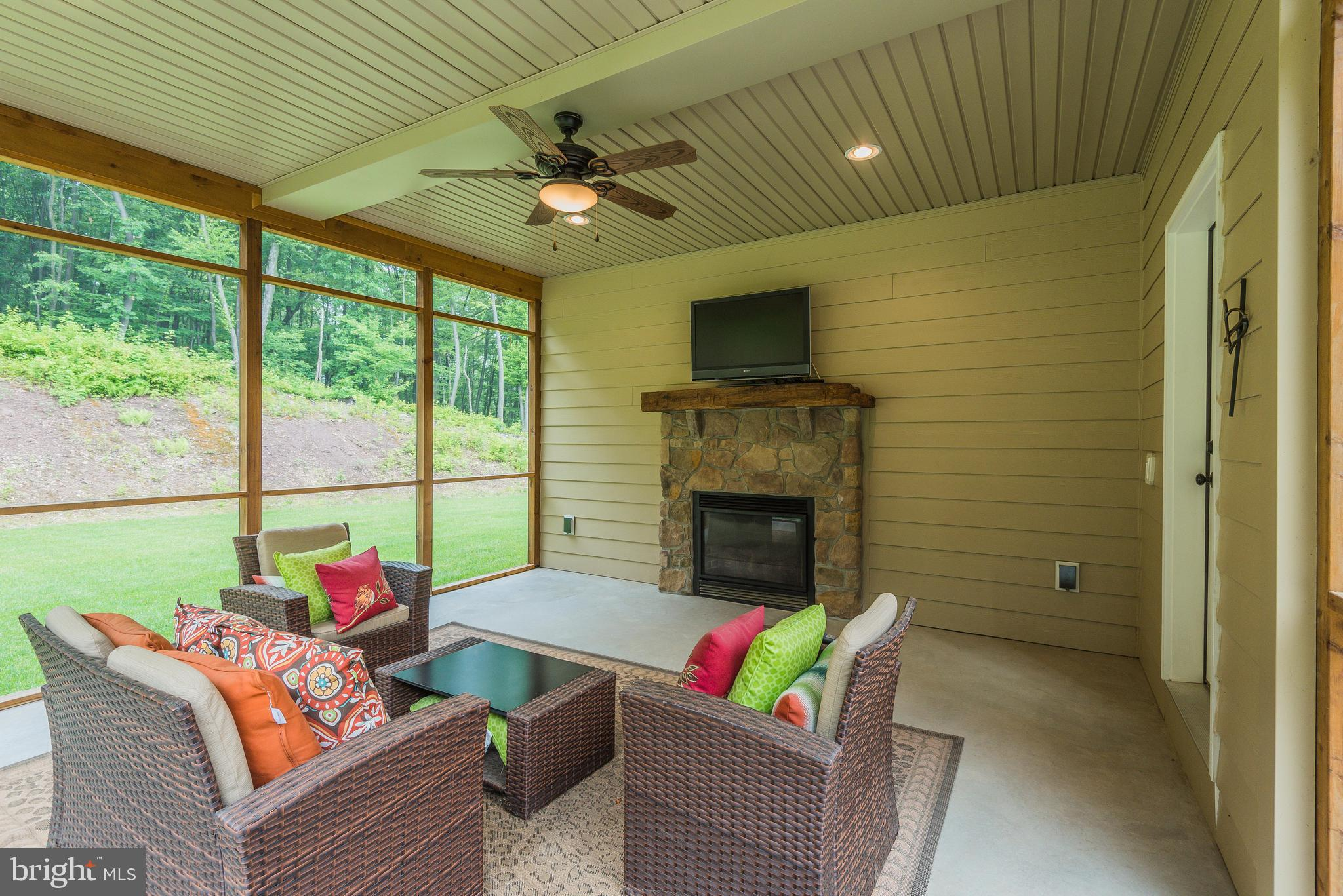 Screened in Porch with Fireplace