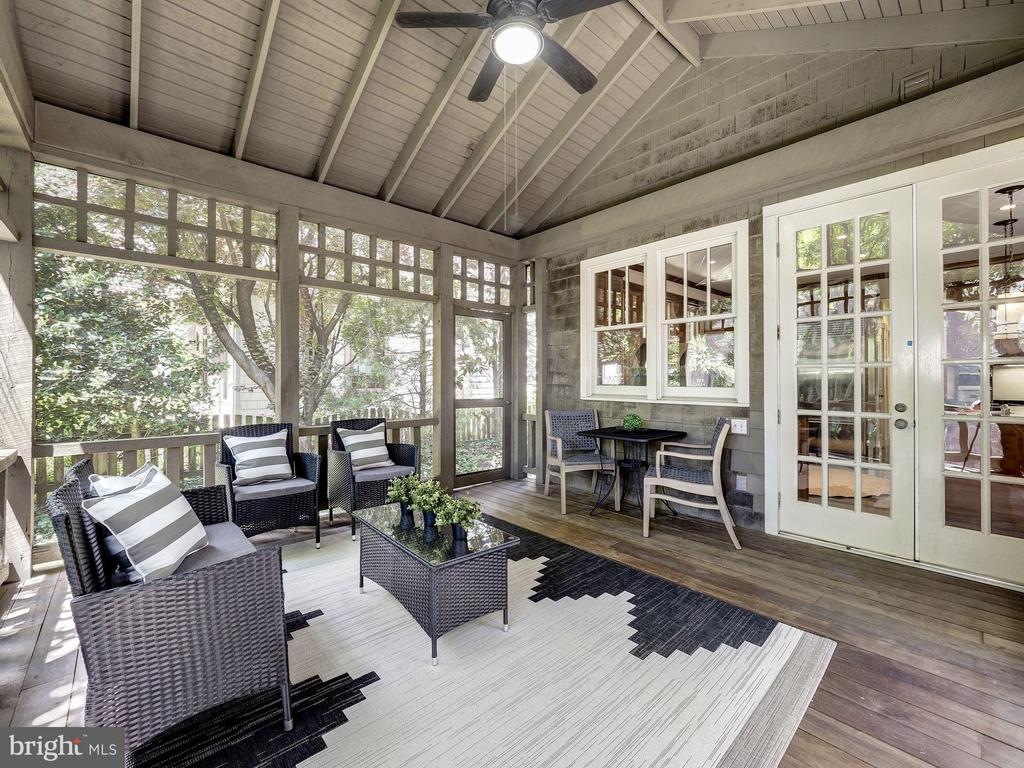 Porch French doors to kitchen - 4412 WALSH ST, CHEVY CHASE