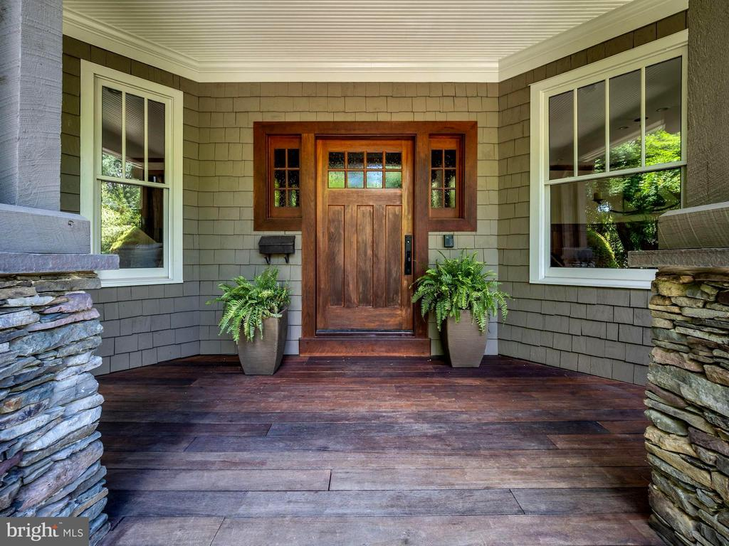 Generously-sized front porch w/ Mahogany flooring - 4412 WALSH ST, CHEVY CHASE