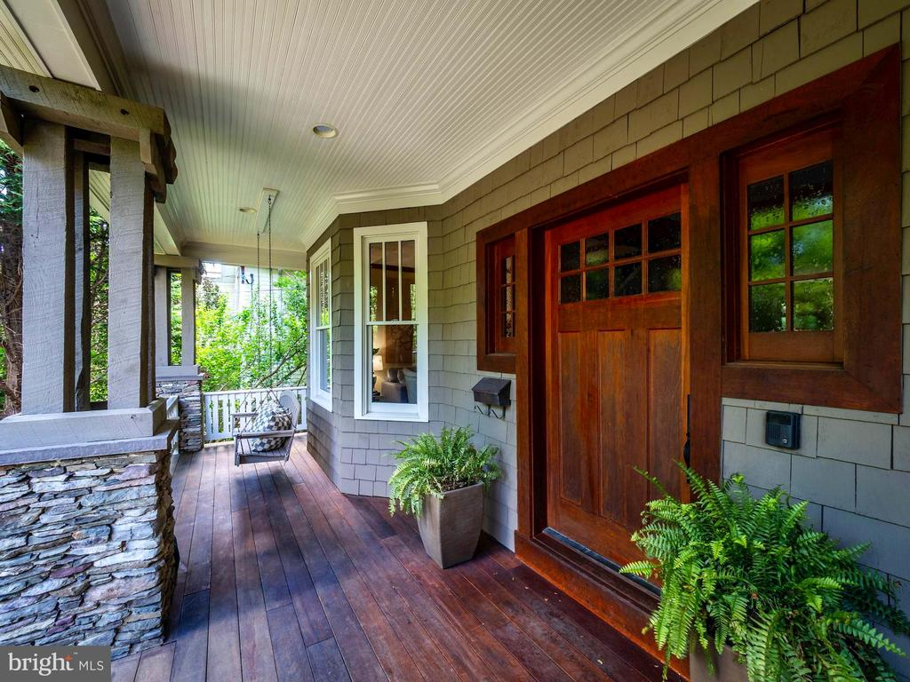 Custom built front door of natural cherry wood - 4412 WALSH ST, CHEVY CHASE