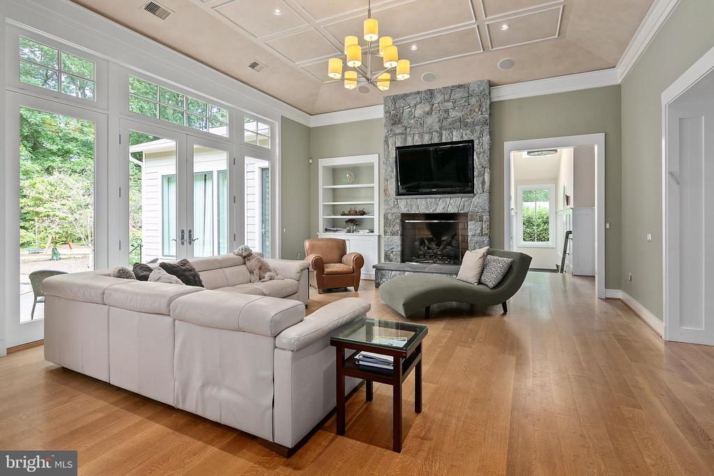 Family Room w/Stone Mantle Fireplace - 11304 HUNTOVER DR, NORTH BETHESDA