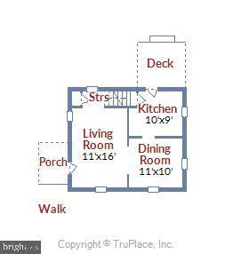 Main Level Floor Plan - 398 N EDISON ST, ARLINGTON