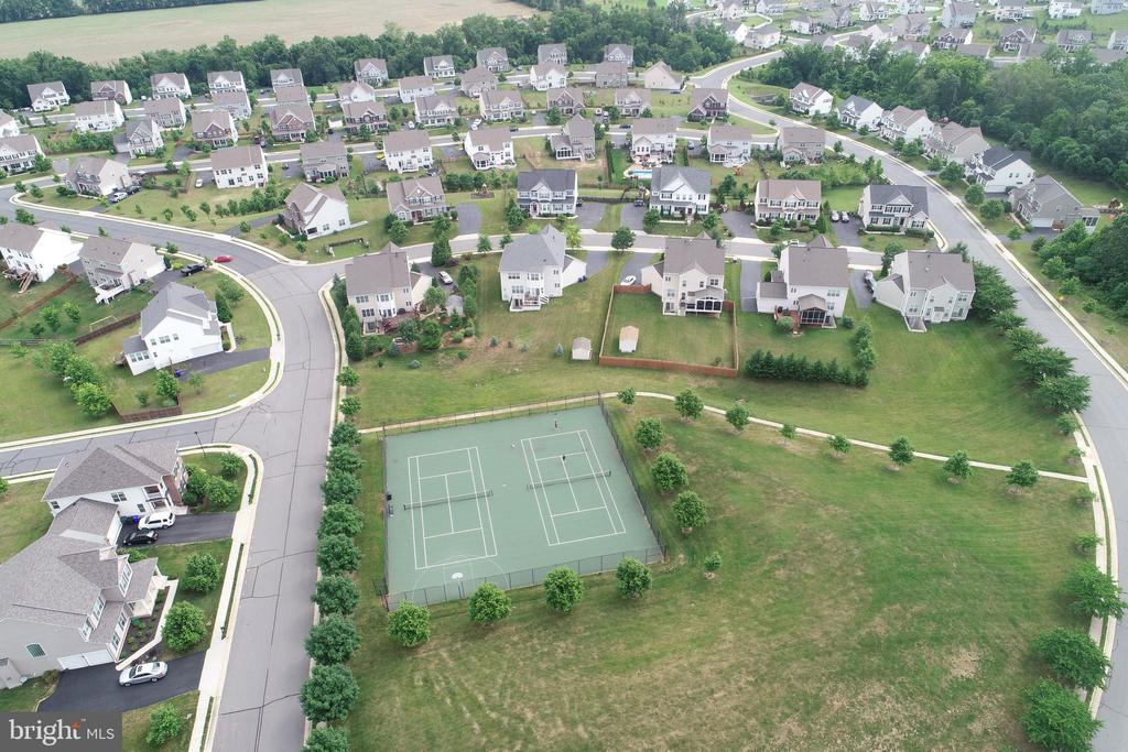 Back view of the house and tennis courts - 43137 BUTTERFLY WAY, LEESBURG
