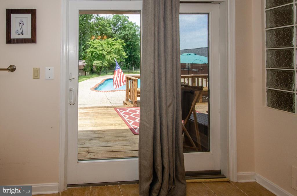 View of the pool from the Master Bedroom Bath - 20659 FURR RD, ROUND HILL