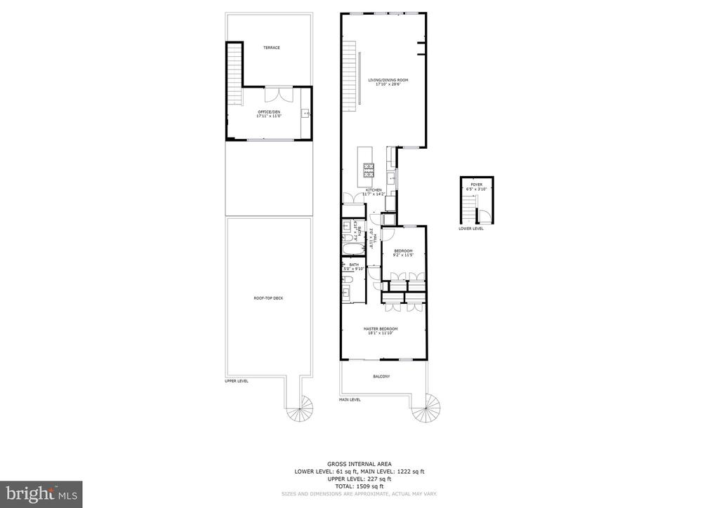 Floor plan of the interior and upper terrace - 763 MORTON ST NW #4, WASHINGTON