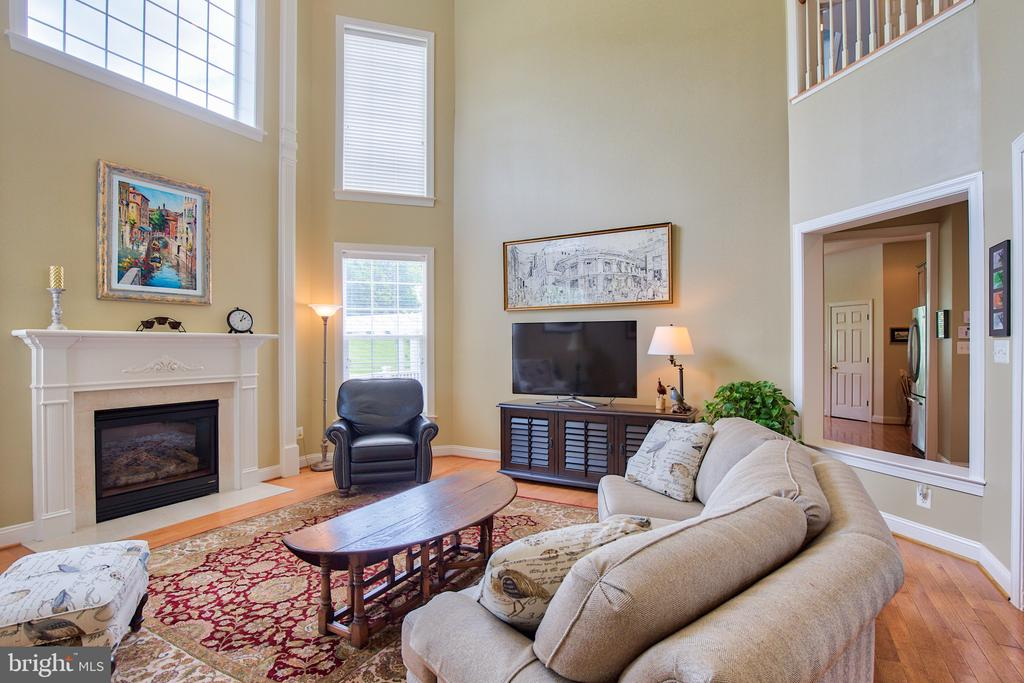 Family room with gas fireplace and coffered ceilin - 6853 MILL VALLEY DR, WARRENTON