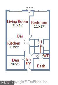 Spacious 834 square foot one bedroom plus den - 4101 ALBEMARLE ST NW #503, WASHINGTON