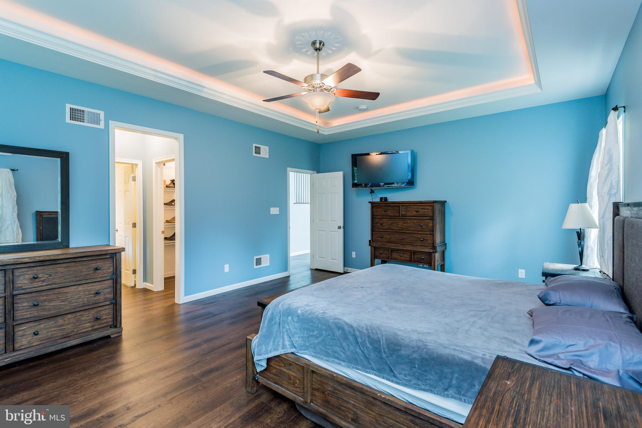 Lighted trey ceiling with ceiling fan!