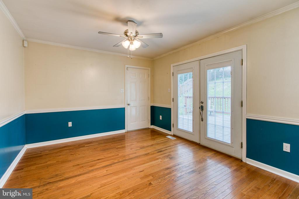 Dining Room with French Doors to Deck - 236 WHITSONS RUN, STAFFORD