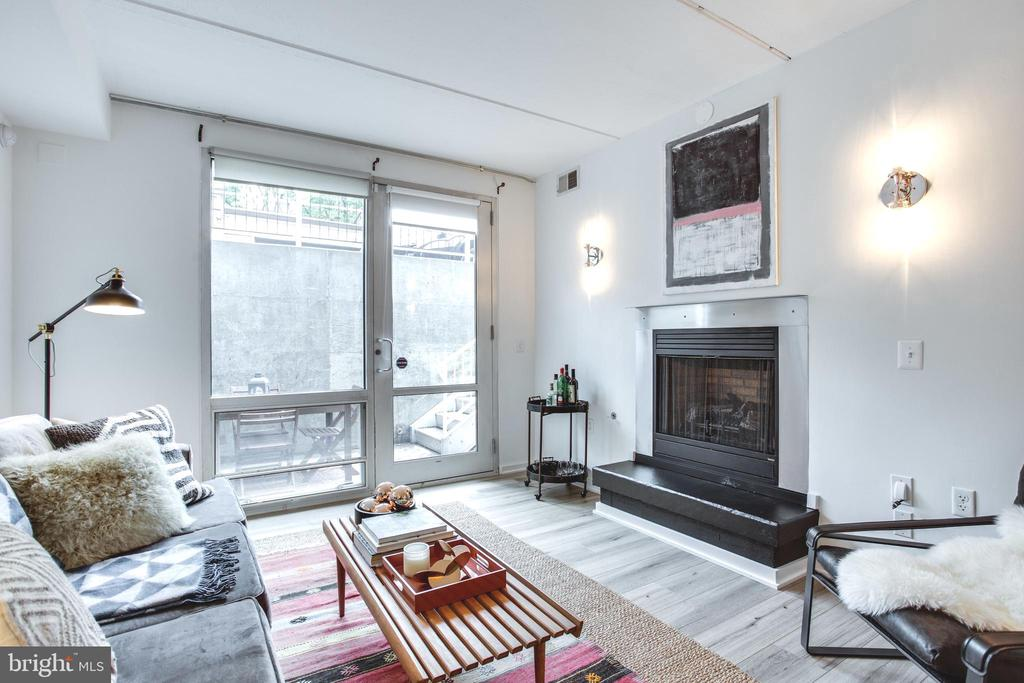 Open Living and Dining Space with private patio - 1445 CHURCH ST NW #2, WASHINGTON