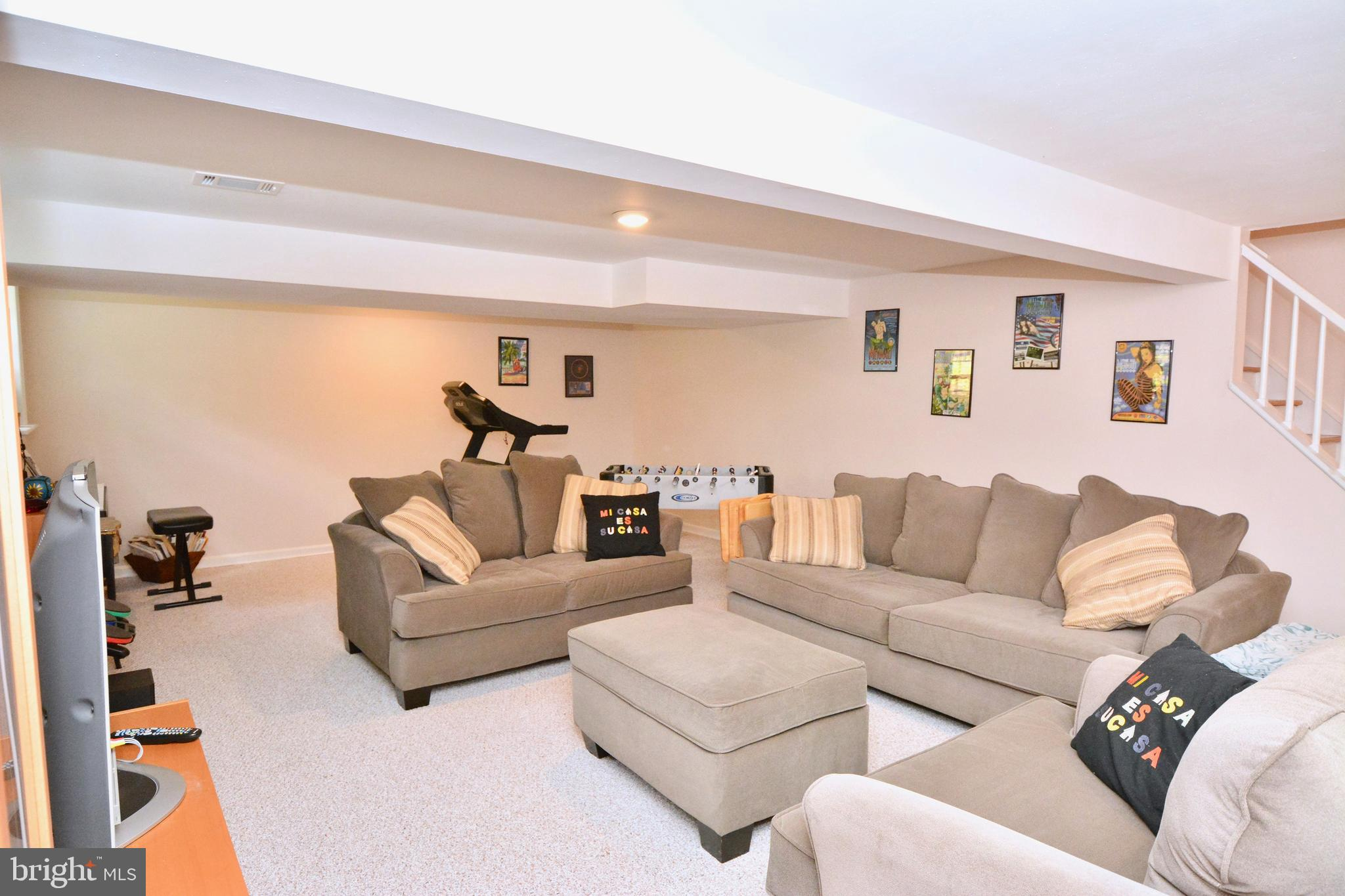 Newer carpeting and recently painted basement.