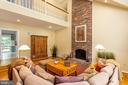 Family Room with Soaring Fireplace & Overlook - 10735 BEECHNUT CT, FAIRFAX STATION