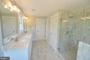 Master bath with framless shower doors - 3 CLARA MAE COURT, ROUND HILL