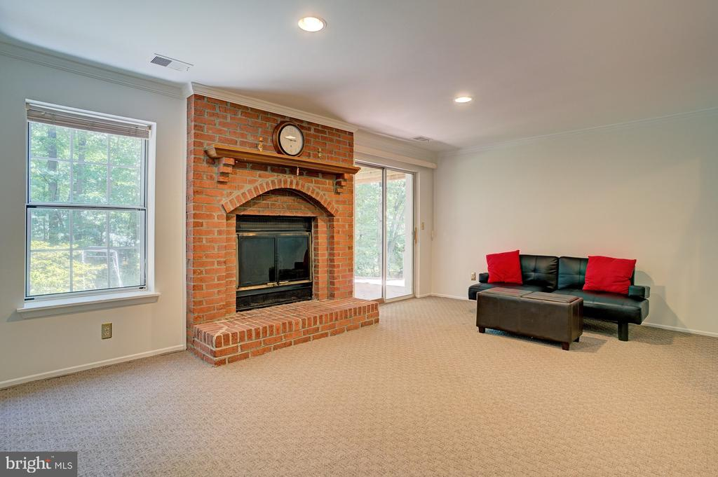 Fireplace on lower level - 5994 POWELLS LANDING RD, BURKE
