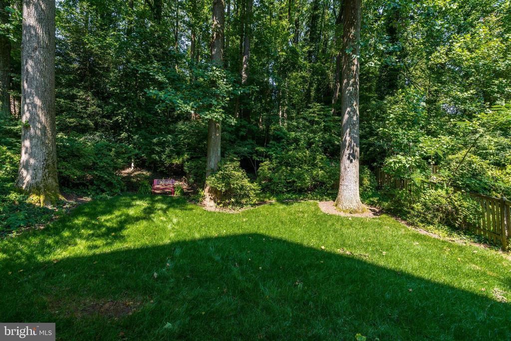 Level rear yard shaded by mature trees and shrubs - 2320 N VERNON ST, ARLINGTON