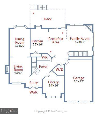 Main level floor plan - 8500 IDYLWOOD VALLEY PL, VIENNA