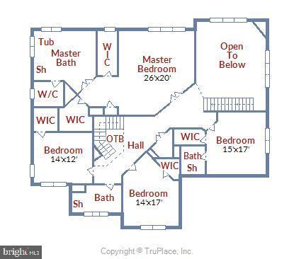 Bedroom level floor plan - 8500 IDYLWOOD VALLEY PL, VIENNA
