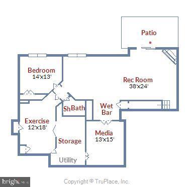 Lower level  floor plan - 8500 IDYLWOOD VALLEY PL, VIENNA