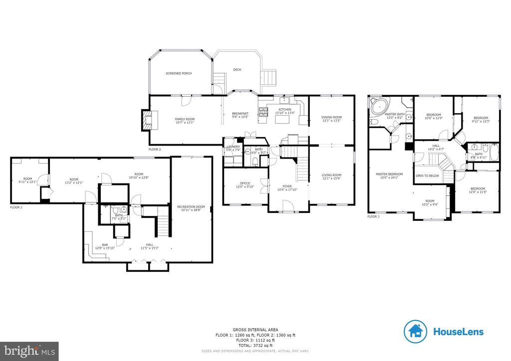 All three levels floor plans - 6806 HATHAWAY ST, SPRINGFIELD