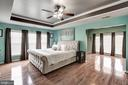 Master bedroom with sitting area & screened porch - 25046 MINERAL SPRINGS CIR, ALDIE