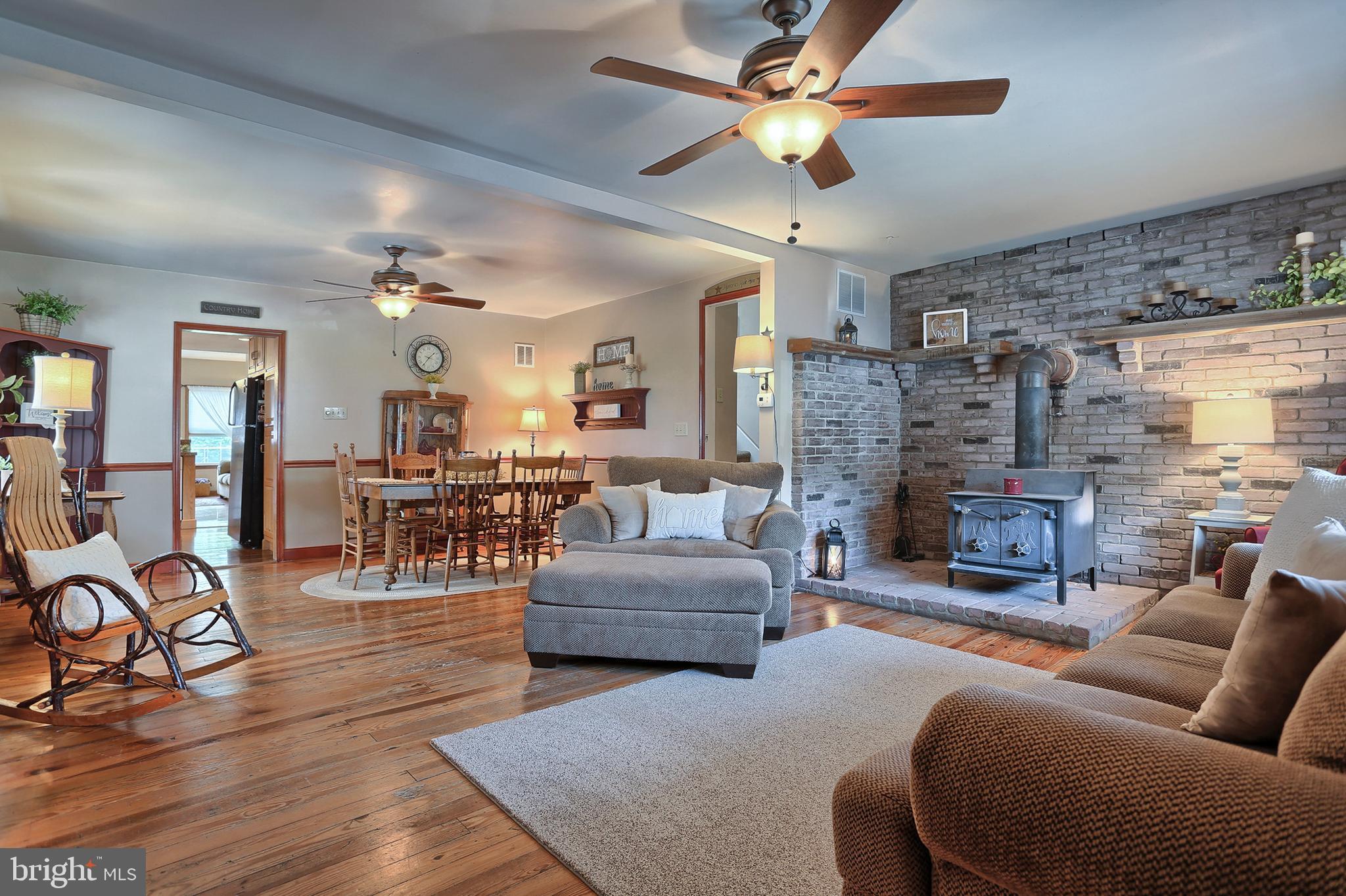 Original Wood Flooring in Living & Dining Area
