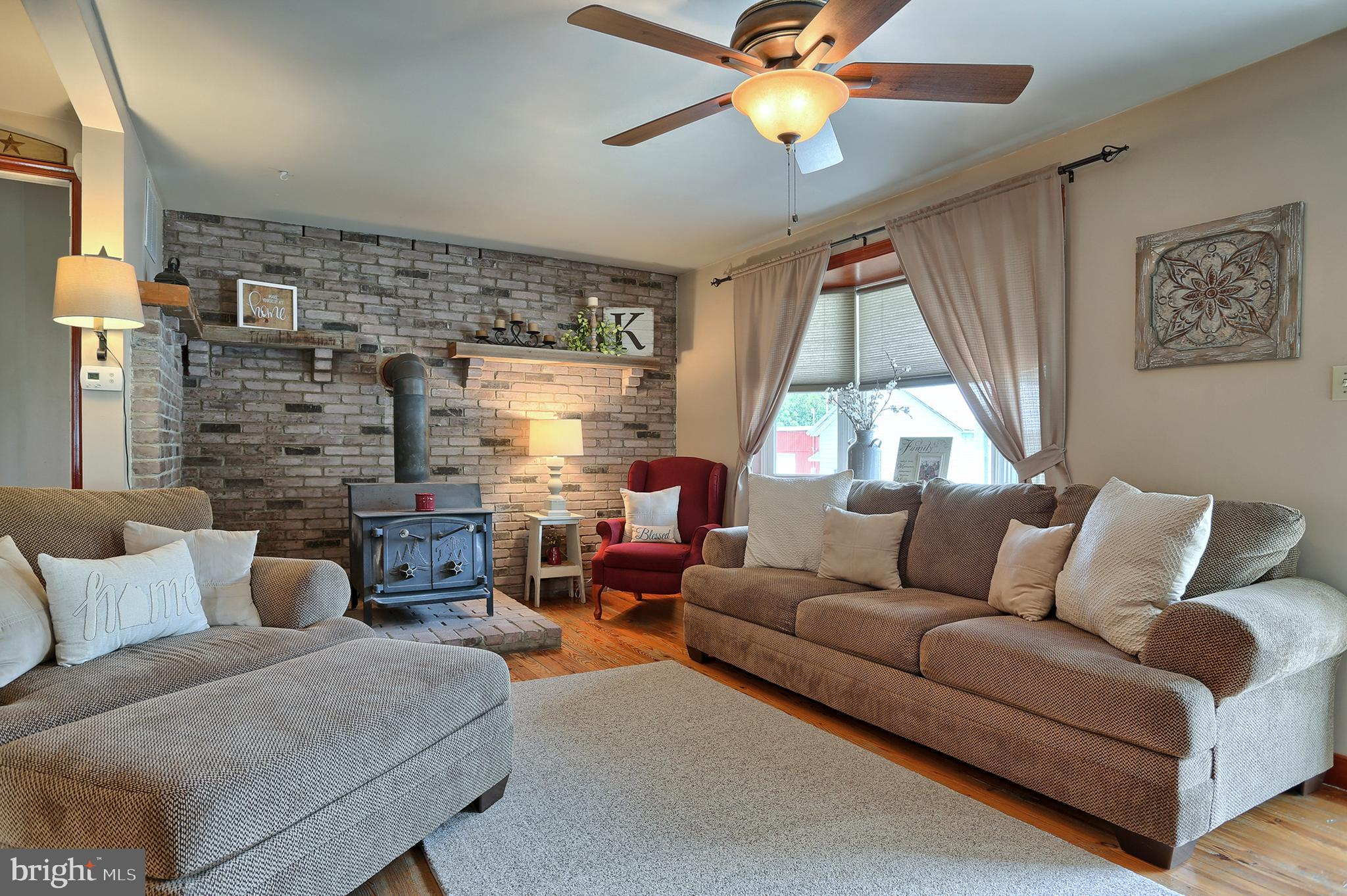Inviting Living Room with Woodstove
