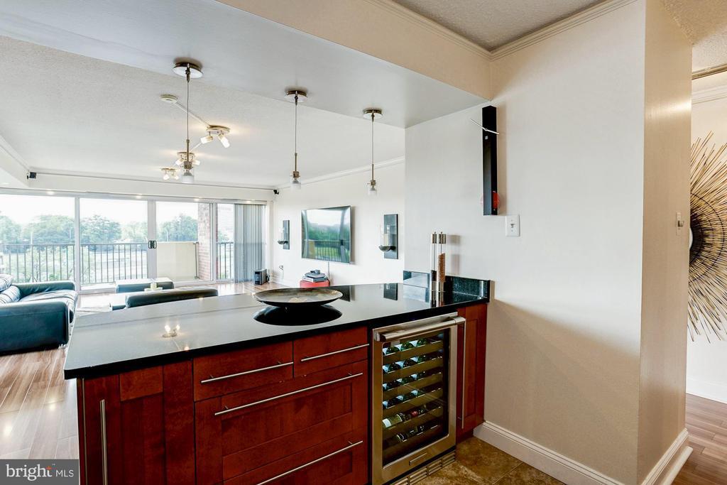 Wine fridge overlooking the living area - 1300 ARMY NAVY DR #922, ARLINGTON