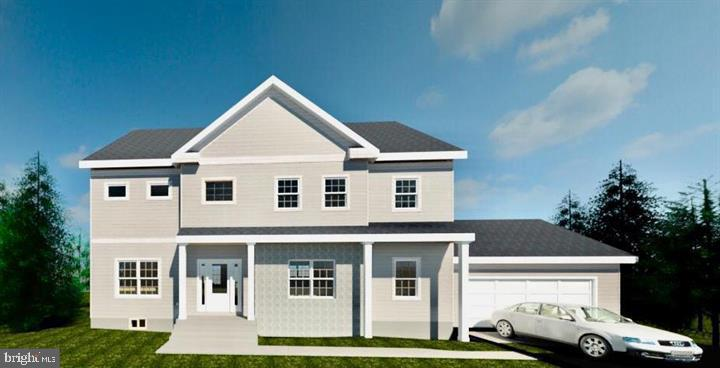 Rendering - front with 2 car garage - 7412 HAMILTON ST, ANNANDALE
