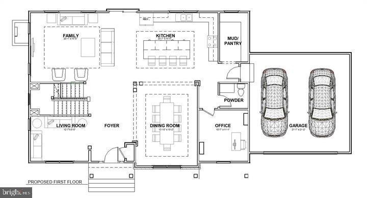 Main level floor plan - 7412 HAMILTON ST, ANNANDALE