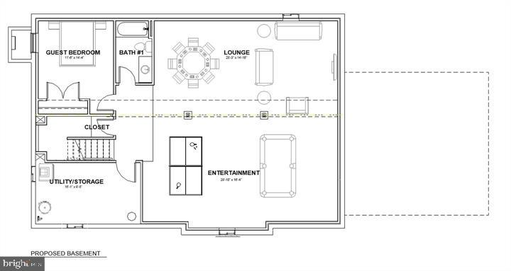 Lower level floor plan - 7412 HAMILTON ST, ANNANDALE