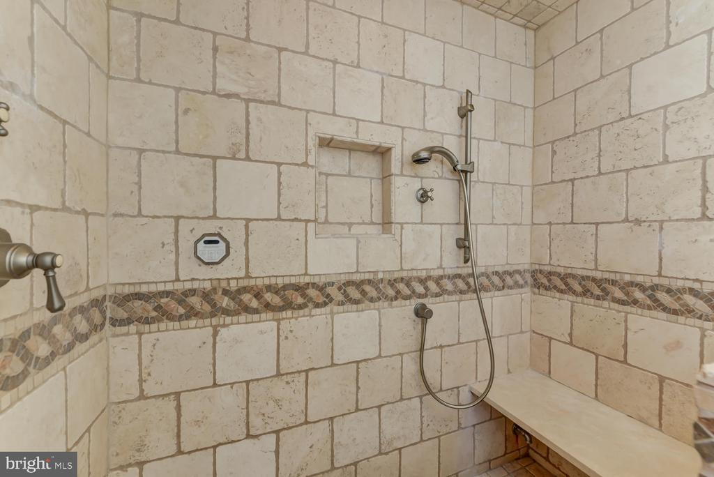 Spa-like master shower with bench - 4513 EDGEFIELD RD, KENSINGTON
