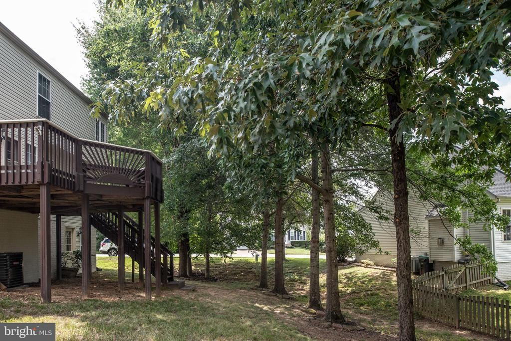 View of peaceful setting in treed backyard. - 31 AURELIE DR, FREDERICKSBURG