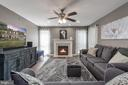 Family room off kitchen w/ gas fp, Ceiling fan - 31 AURELIE DR, FREDERICKSBURG