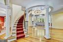 Beautiful Curved Staircase  with Inlay in the floo - 11552 MANORSTONE LN, COLUMBIA
