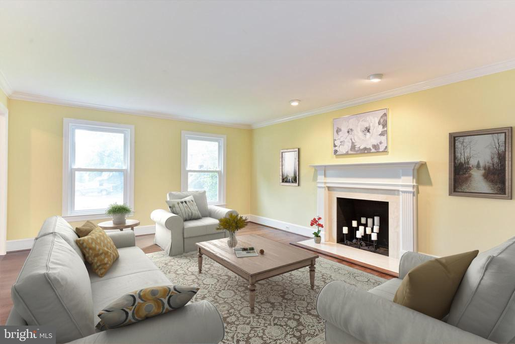 Living Room with Fireplace - 4201 KIMBRELEE CT, ALEXANDRIA
